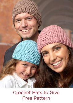 Free Pattern Crochet Hats to Give in Red Heart With Love Yarn