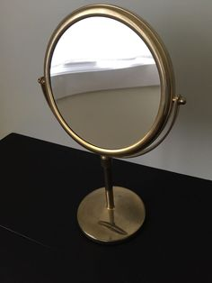 Lovely Large BRASS Double Sided Vanity Makeup Shaving MIRROR Adjustable Stand  JERDON
