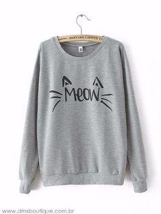 Casaco Gato Meow Blusa-tumblr-feminina Moletom Promoção