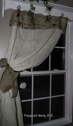 Sewing Curtains No Sew Burlap Curtains - I needed some curtains for the kitchen eating area. I settled on a No Sew project. Simple as two yards of burlap, a small section of contrasting burlap and drap… No Sew Curtains, Burlap Curtains, Rod Pocket Curtains, Burlap Projects, Burlap Crafts, Sewing Projects, Sewing Ideas, Sewing Tips, Diy Projects