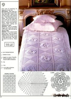 Crochet Bedspread Patterns Part 9 - Beautiful Crochet Patterns and Knitting Patterns Crochet Diagram, Filet Crochet, Crochet Motif, Crochet Designs, Crochet Doilies, Crochet Patterns, Crochet Home, Crochet Crafts, Crochet Bedspread Pattern