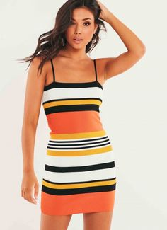 Minoh Dress - Orange Stripe Womens Fashion, Fashion Trends, Girly, Fashion Looks, Stripes, How To Wear, Outfits, Clothes, Collection