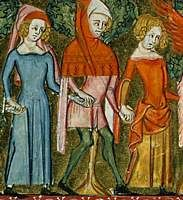 c.1350, French.  From the Roman de la Rose  Left: blue cotehardie, pink hood lined with red worn with the head through the face. Gown short enough to see ankle. Right: scarlet short-sleeved gown with tippets over long-sleeved golden gown.