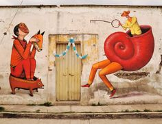 Interesni Kazki's street art. Waone and Aec have done a number of amazing outdoor murals in Mexico, Poland, United States, and other locations.
