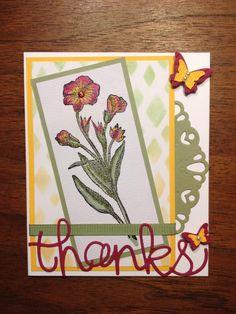 Use Backyard basics ; Backyard framelits ; Darling doily thinlit ; Beautiful wings sizzlit ; Thank you