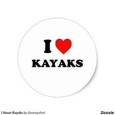 I Heart Kayaks Classic Round Sticker