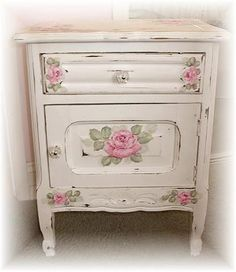Jill Serrao uploaded this image to 'Gallery'. See the album on Photobucket. White Painted Furniture, Rustic Wood Furniture, Painted Chest, Shabby Chic Furniture, Vintage Furniture, Decoupage Furniture, Refurbished Furniture, Paint Furniture, Repurposed Furniture