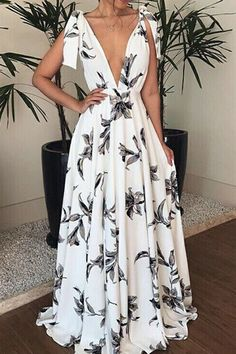 Ins Dresses Bohemian V Neck Belted Printed Colour Bare Back Dress Bare Back Dress, Dress Backs, Casual Dresses, Fashion Dresses, Casual Wear, Robes Midi, Floral Maxi Dress, Sexy, Evening Dresses