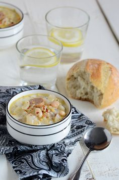 Cabbage, white bean and sausage soup