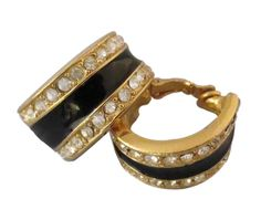 Clip these chic Givenchy gold tone hoops to your ears and step out in style with sparkling rhinestones to light up black enamel and accent a stylish hairdo. #Stuff4uand4u