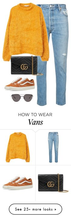"""Untitled #4604"" by magsmccray on Polyvore featuring RE/DONE, MANGO, Gucci, Vans and Gentle Monster"