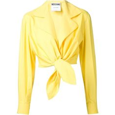 Moschino Tie Front Cropped Shirt found on Polyvore