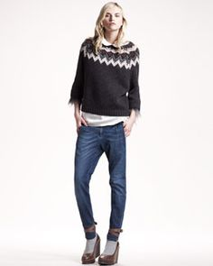 Brunello Cucinelli Feather-Trim Intarsia Sweater, Peter Pan-Collar Silk Top & Whiskered Skinny Jeans