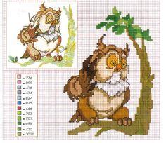 Cross Stitch Owl, Just Cross Stitch, Cross Stitch Charts, Cross Stitching, Disney Cross Stitch Patterns, Counted Cross Stitch Patterns, Cross Stitch Designs, Bambi Disney, Disney Cartoons