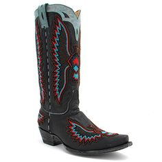 "Old Gringo 13"" Eagle Chaquira Beaded Boot in Black at Maverick Western Wear"