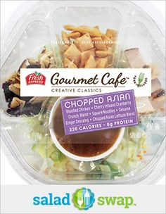 *Instead of an Asian Chicken Wrap try this Fresh Express Gourmet Café Chopped Asian Salad.*  *Asian Chicken Wrap: 810 Calories Chopped Asian Salad: 220 Calories*  *Serves 1*  *Find lower calorie salad recipes with the 'Fresh Express 30 Day Salad Swap':http://www.saladswap.com!*