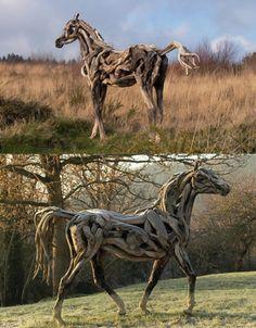 Driftwood sculptures by Heather Jansch
