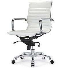 Meelano Vegan Leather Executive Office Chair; White | Staples ($182)