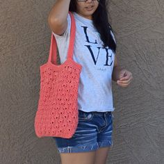 Light coral red crochet tote cotton beach bag crocheted market
