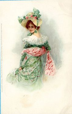 S2585 Meissner and Buch postcard 1068, Woman in pink and green, U/B, Unused, Min