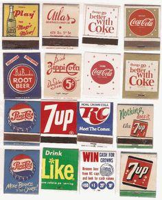 Vintage soda matchbooks