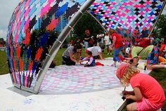 New public art installation by students Dimitrios Karopoulos, John Natanek, and Adrian Bica brightens Jacques Cartier Park in Ottawa | The John H. Daniels Faculty of Architecture, Landscape, and Design