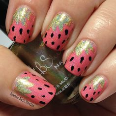 Strawberry Nail Art featuring KBShimmer Blush Money and Ins and Sprouts