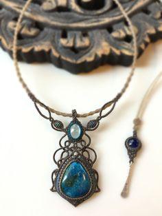 アクアマリン×アズロマラカイト×カイヤナイトの蝋引き紐ネックレス【ブルーブルーブルー】