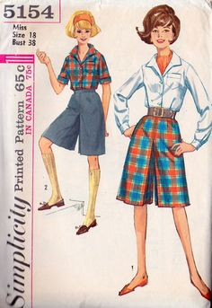 1960s Misses Blouse and Culottes