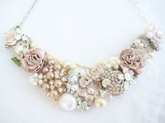 Trendy Tuesday: Breathtaking Bridal Bibs | Confetti Daydreams - Vintage-inspired couture Blush Bridal Bib Necklace with a brooch available from: Brass Boheme, USA ♥ #Bridal #Bibs ♥  ♥  ♥ LIKE US ON FB: www.facebook.com/confettidaydreams  ♥  ♥  ♥