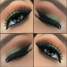 maquillaje en tonos verdes y marrones #makeup #green #brown #greeneyeshadow