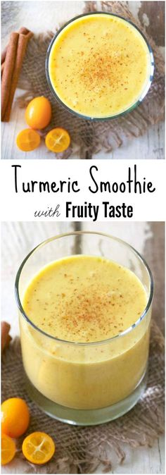 Healing Turmeric Smoothie with Fruity Taste Homemade Smoothies, Homemade Detox, Healthy Smoothies, Healthy Drinks, Homemade Recipe, Vegetable Smoothies, Healthy Eating, Yogurt Smoothies, Healthy Shakes