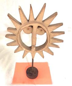 "VINTAGE Antique BENNINGTON POTTERY Sun Face Standing Iron Base ""As Is"" 