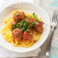 Spaghetti Squash and Meatballs from our blog -- This is such an easy way to make spaghetti squash and meatballs — it all cooks in the crock pot together, even the spaghetti squash!