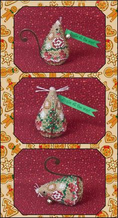 Just Nan: Gingerbread Jingle Mouse - Cross Stitch Pattern -Limited edition Gingerbread Jingle Mouse Christmas Ornament. Model stitched on 32 Ct. Antique Almond Belfast linen with DMC floss and Kreinik #4 Braid. Stitch count: 29H x 57W. Finishing instructions included. Comes with an antique brass hanger for the tail, antique brass button, silver crystal beads, tiny jingle bell, and printed paper banner.