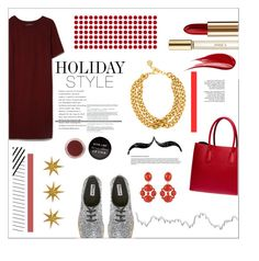 """""""Holiday style"""" by rheeee ❤ liked on Polyvore featuring Chloé, MANGO, Ben-Amun, Prada, Hourglass Cosmetics, Lancôme, CO, Tiffany & Co., DwellStudio and holidaystyle"""