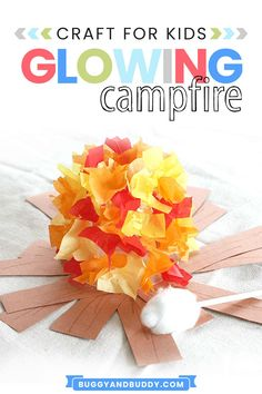 Kids love making and playing with this glowing campfire craft! It's super easy to make and perfect for summer, fire safety week, summer camp, or for imaginative play! Campfire Crafts For Kids, Summer Crafts For Kids, Paper Crafts For Kids, Arts And Crafts Projects, Art For Kids, Summer Art, School Projects, Summer Activities For Kids, Kid Activities