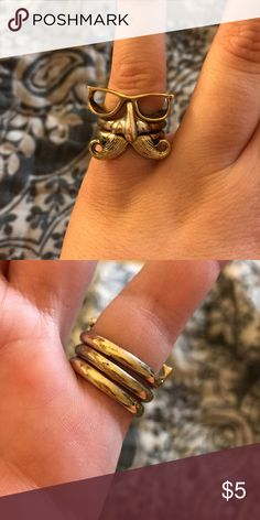 Three rings - glasses, mustache and nose Three rings - glasses, mustache and nose - unsure of the size but in a medium range. Jewelry Rings