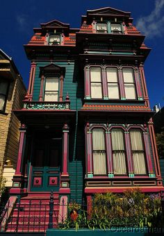 Victorian Home in San Francisco by Oscardaman - Another colorful home in San Francisco. Shot with a Nikkor 24-70mm on a Nikon D700. Polarized with afternoon sunlight. Anyone can see this photo. All rights reserved. Uploaded on Sep 6, 2010 |