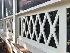 A beautiful porch always holds eyes on people. And the farmhouse style porch seems to be very enjoyable right now. A farmhouse porch just begs for a deep swing, piled with pillows and a… Continue Reading → Front Porch Railings, Deck Railings, Screened In Porch, Porch Railing Designs, Balcony Railing Design, Porch Balusters, Front Porch Pergola, Front Porch Steps, Railing Ideas