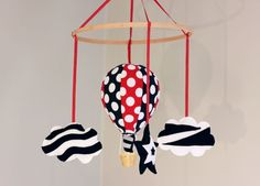 Red white and black high contrast visual montessori baby mobile balloon mobile
