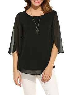 Shop a great selection of ACEVOG Womens Casual Scoop Neck Loose Top Sleeve Chiffon Blouse Shirt Tops. Find new offer and Similar products for ACEVOG Womens Casual Scoop Neck Loose Top Sleeve Chiffon Blouse Shirt Tops. Chiffon Shirt, Chiffon Tops, Chiffon Blouses, Petite Tops, Loose Tops, Black Blouse, Casual Tops, Casual Wear, Plus Size Tops