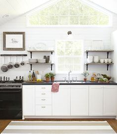 DIY Dream Home: Small-Space Decorating Ideas on a Dime - Three boys, two parents, one Wyoming cabin. - Carmella McCafferty DIY Home Decor : Country Living New Kitchen, Kitchen Decor, Space Kitchen, Kitchen Windows, Minimal Kitchen, Kitchen Shelves, Rustic Kitchen, Kitchen Hacks, Room Kitchen