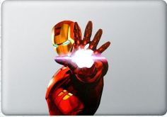 Iron Man  - Mac Decal Macbook Stickers Macbook Decals Apple Decal  Macbook Pro Sticker Macbook Air  iPad2 Decals. $8.50, via Etsy.