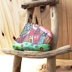Painted rock collectible rustic decoration colourful folk art, gift for her, Christmas present stone art hand painted Australia garden decor by TheStunnerBoutique on Etsy