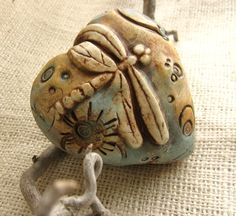 Heart Shaped Ceramic Rattle with Dragonfly by SeeingIsBelieving