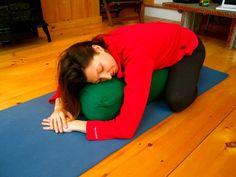 Database of restorative yoga poses w/ photos. Each pose listed includes the benefits, technique involved, contraindications, and breathing technique recommended for the pose.