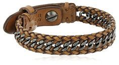 """Fossil """"Sun Up Sun Down"""" Men's Leather and Chain Bracelet..."""