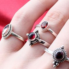 ✧♆✧ Garnet... It's like the blood of your enemies... ✧♆✧ Shop ⇢⇢ www.shopdixi.com // shop dixi // boho // bohemian // gothic // grunge // witchy // witchy // boho jewels // boho chic  // bohemian jewellery // bohemian jewelry // silver rings // sterling silver // gypsy jewels // rings // stacking rings // moon child // dark // mystic