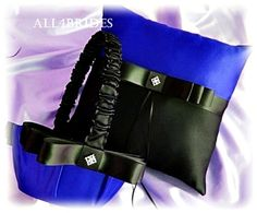 Weddings Ring Pillow And Flower Girl Basket Royal Blue Black Wedding Party Ceremony Accessories